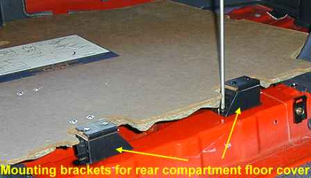 Rear compartment floor cover hinges