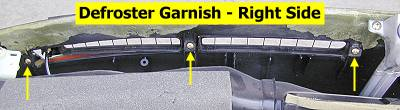 Defroster garnish - back, right-hand, screw locations