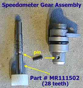 Speedometer gear assembly apart